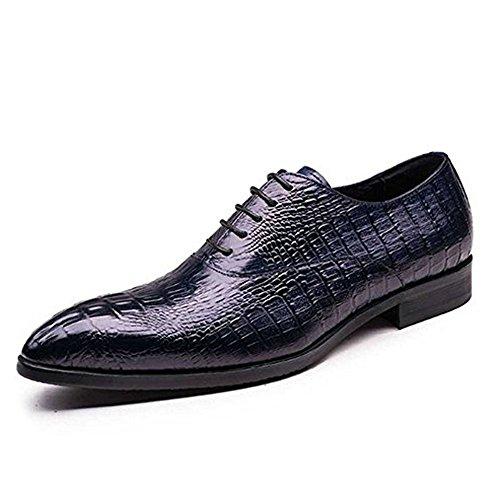 Fulinken Cocodrilo Genuino En Relieve De Cuero Con Cordones Zapatos Oxford Hombres Negocios Vestido Formal Zapatos Azul Oscuro