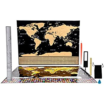 Amazon scratch off world map poster with us states thicker scratch off world map poster with us states thicker paper large size 325x23 gumiabroncs Image collections