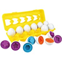 YeahiBaby 12Pcs Matching Eggs Shapes and Colors Educational Toys Set Puzzle Sorting Eggs Game for Kids Toddler Age 3+ (12 Shapes, Random 6 Color)