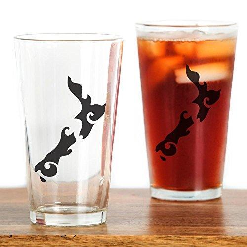 CafePress - NZ New Zealand Map Tattoo Style - Pint Glass, 16 oz. Drinking - New Glasses Zealand