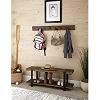 Alaterre Modesto Metal and Reclaimed Wood Wall Coat Hook with Bench