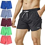 MaaMgic Mens Short Swim Trunks with Mesh Lining Quick Dry Boy Mens Board Shorts Swim Suit, Black