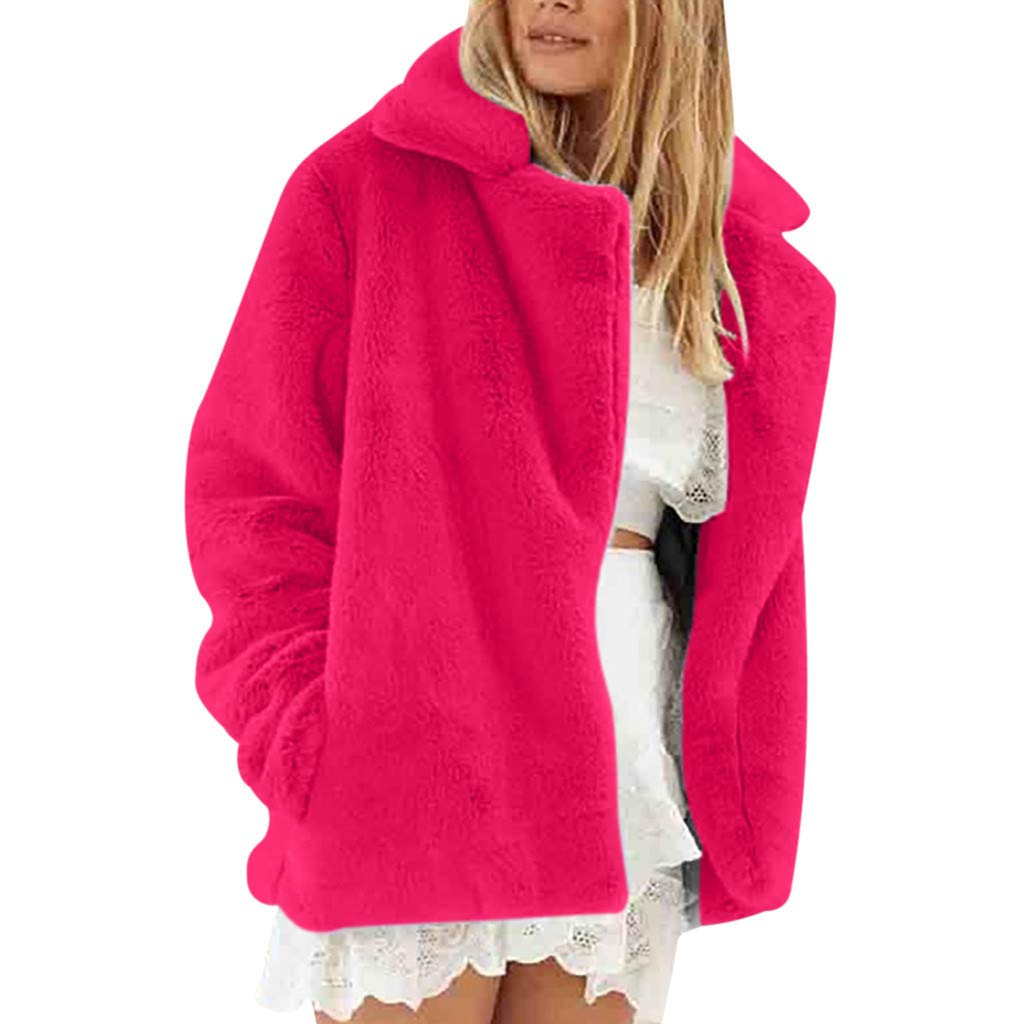 IEason Autumn Winter New Women Long Sleeve Warm Plush Short Coat Watermelon Red by IEason Women Coat