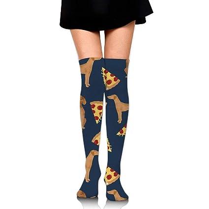 RGFJJE Calcetines Altos Vizsla Pizza Upgraded Knee High Graduated Compression Socks for Women and Men -
