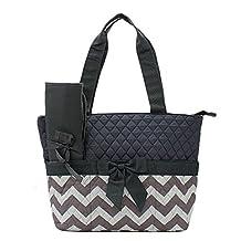 Handbag Inc Quilted Chevron Stripe Diaper Bag Baby Changing Pad Cosmetic Bag Grey