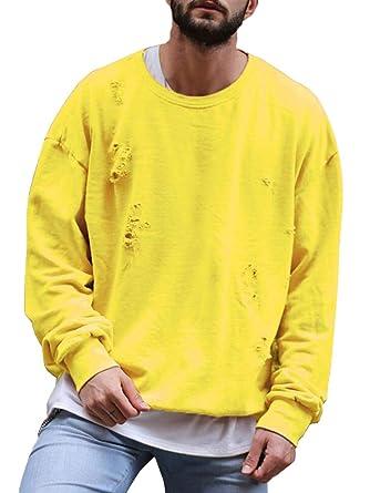 ORANDESIGNE Sudadera para Hombre Otoño Invierno Redondo Clásico Cuello Manga Larga Sudaderas Casual Suelto Oversize Sweatshirt Tops T-Shirt Chándal: ...
