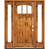 Classic Estate Doors CB74151-14SL-CB-PA-LH 14-Inch Arch Top Three Light Door with Sidelights, Left Hand Swing, Prefinished Knotty Alder
