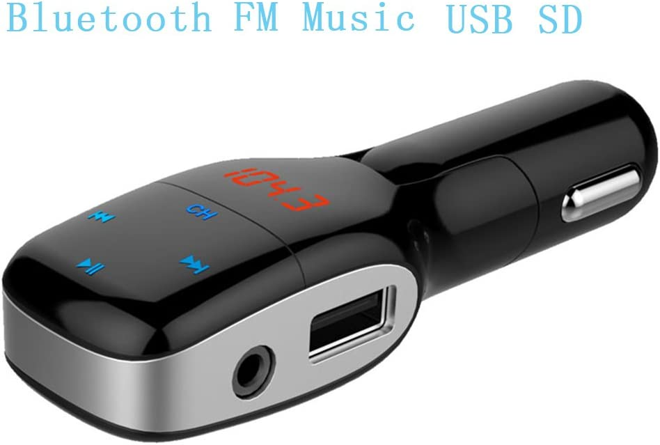 Transmisor FM, Bluetooth del coche, transmisor de radio del coche, manos libres Bluetooth Kits de coche, adaptador de audio de radio inal¡§¡émbrica, Bluetooth Reproductor MP3 con 2.1A 5V de doble pu