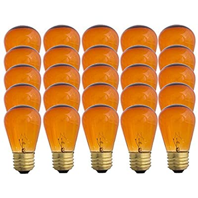 Amber S14-11w Bulb - Patio string light replacement Bulb - 25 Bulbs