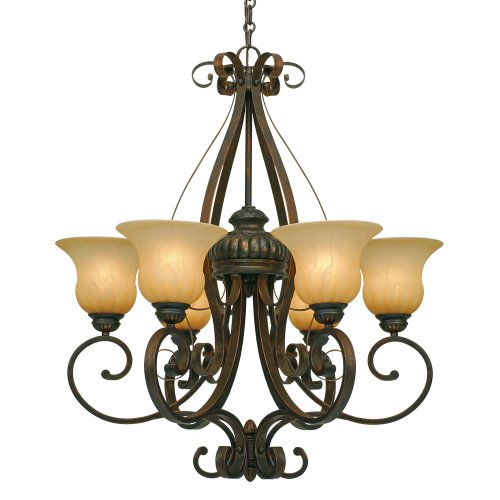 Lc Leather Crackle Finish - Golden Lighting 71166LC Mayfair Chandelier, 28.5