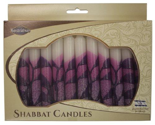 Majestic Giftware SC-SHTR-P Safed Shabbat Candle, 5-Inch, Tree Purple, 12-Pack (Candles Shabbat Safed 12)