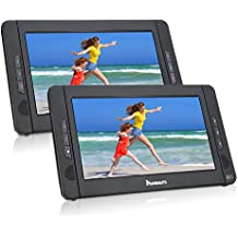 """10.1"""" Dual Screen Portable DVD Player with 5-Hour Built-In Rechargeable Battery-Black (Host DVD Player+ Slave Monitor)"""