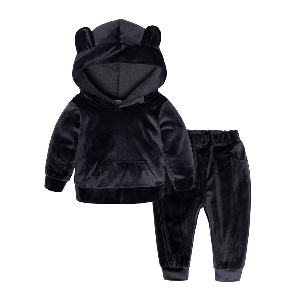 Kids Tales Baby Boys Girls Cute Ear Hooded Fleece Pullover and Pants Outfits Set Black