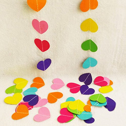 (My Lifestyle 26Ft Set of 2 Rinbow Heart Paper Garland for Room Party Decorations Backdrop (Rinbow))
