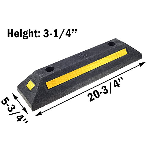 Genubi Industry Rubber Curb, Black Heavy Duty Parking Blocks with Yellow Refective Stripes, Wheel Stop Stoppers for Car, Truck, RV, Trailer, and Garage, 2 Pack Professional Grade by Genubi Industry (Image #1)