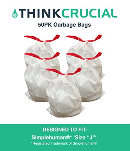 Think Crucial 50PK Durable Garbage Bags Fit simplehuman 's
