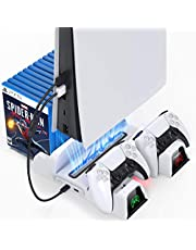 $33 » OIVO PS5 Stand with Suction Cooling Fan and Dual Controller Charger Station for Playstation 5 PS5 Console, Suction Cooling Fan with Charging Dock Station and 12 Game Slots- 2 IN1 Cable Included