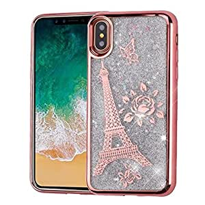 iPhone X Case, Mybat Quicksand Glitter Eiffel Tower Dual Layer [Shock Absorbing] Protection Hybrid Chrome Hard Snap-in Case Cover For Apple iPhone X, Rose Gold/Purple