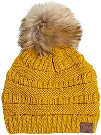 72cbcd2c1a476b ScarvesMe CC Soft Stretch Cable Knit Ribbed Faux Fur Pom Pom Beanie Hat