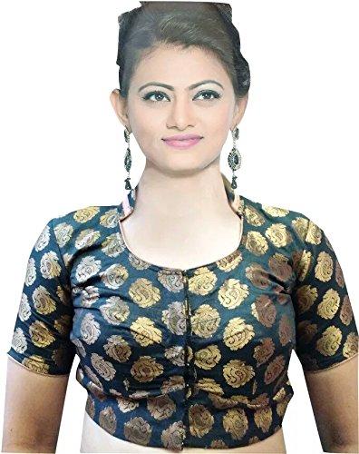 9460bb3f8d5da SINGAAR Women s Blouse Readymade Designer-Brocade-Gold-Black- Band Collar- Party