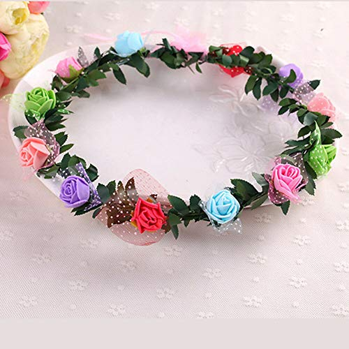Womens Handmade Floral Crown Rose Flower Headband Hair Garland Wedding Headpiece (ColorID - Colorful)