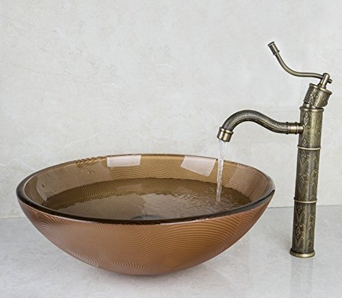 GOWE Retro Anitique Brass Tap+Hand-Paint Round Washbasin Lavatory Glass Wash Basin Sink Combine Vessel Tap Mixer Faucet 0
