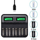 LCD Display Universal Battery Charger,8 Bay Smart Charger for Rechargeable Batteries Ni-MH/Ni-Cd A AA AAA SC C D Batteries with USB Port Type c and Overcharge Prevention Function