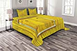 Lunarable Shutters Bedspread Set King Size, Window Covered Vertical Wooden Shutters Traditional Historic Architectural Elements, Decorative Quilted 3 Piece Coverlet Set with 2 Pillow Shams, Yellow