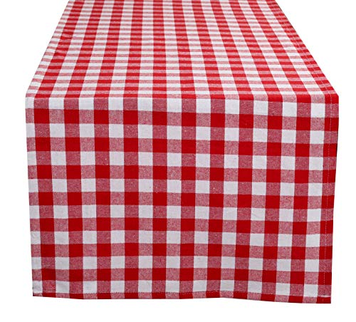 Glamburg 100% Cotton Table Runner 2-Pack 16x108 Gingham Check Plaid for Family Dinners or Gatherings, Indoor or Outdoor Parties & Everyday Use -Red
