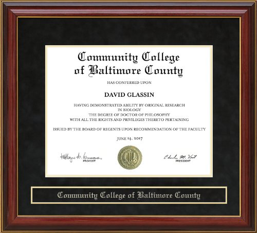 Community College Of Baltimore County  Ccbc  Diploma Frame   Mahogany