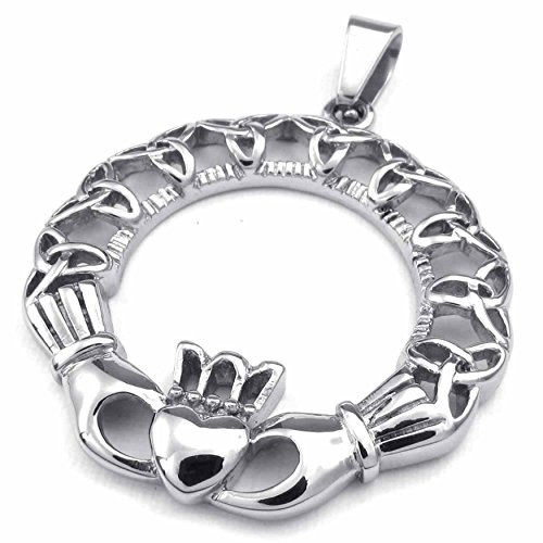(ANAZOZ Fashion Jewelry Stainless Steel Men's Women's Pendant Necklace Chians Celtic Claddagh Heart Crown 18-26 Inch)