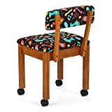 Arrow 7000B Wood Sewing and Craft Chair with Under Seat Storage, Print Upholstery Fabric by Riley Blake, Oak with Black Notions Print Fabric