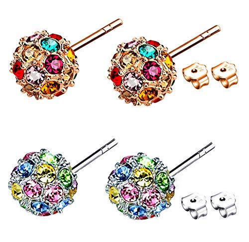 8mm Colorful Round Ball Stud Earrings with Swarovski Crystal Gemstone Cubic Zirconia CZ Stone Set Pierced Eardrop for Women Birthstone Gifts(Pack 2)