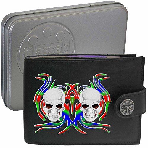 Skull White Multi Coloured Fire Schädel weißes Multi farbiges Feuer Klassek Herren Geldbörse Portemonnaie Brieftasche Voodoo aus echtem Leder schwarz Geschenk Präsent mit Metall Box