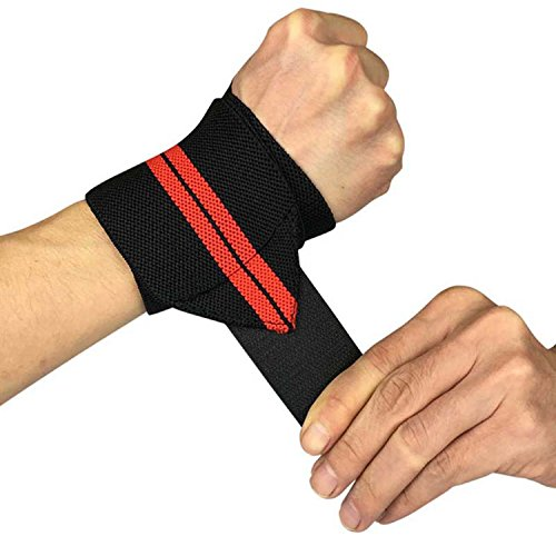 (Chiced 1Pcs Weight Lifting Wrist Wraps Thumb Support Straps Gym Winding Wrist Bracers Fitness Crossfit Sports Wristband Hand Bands,Black With Red )