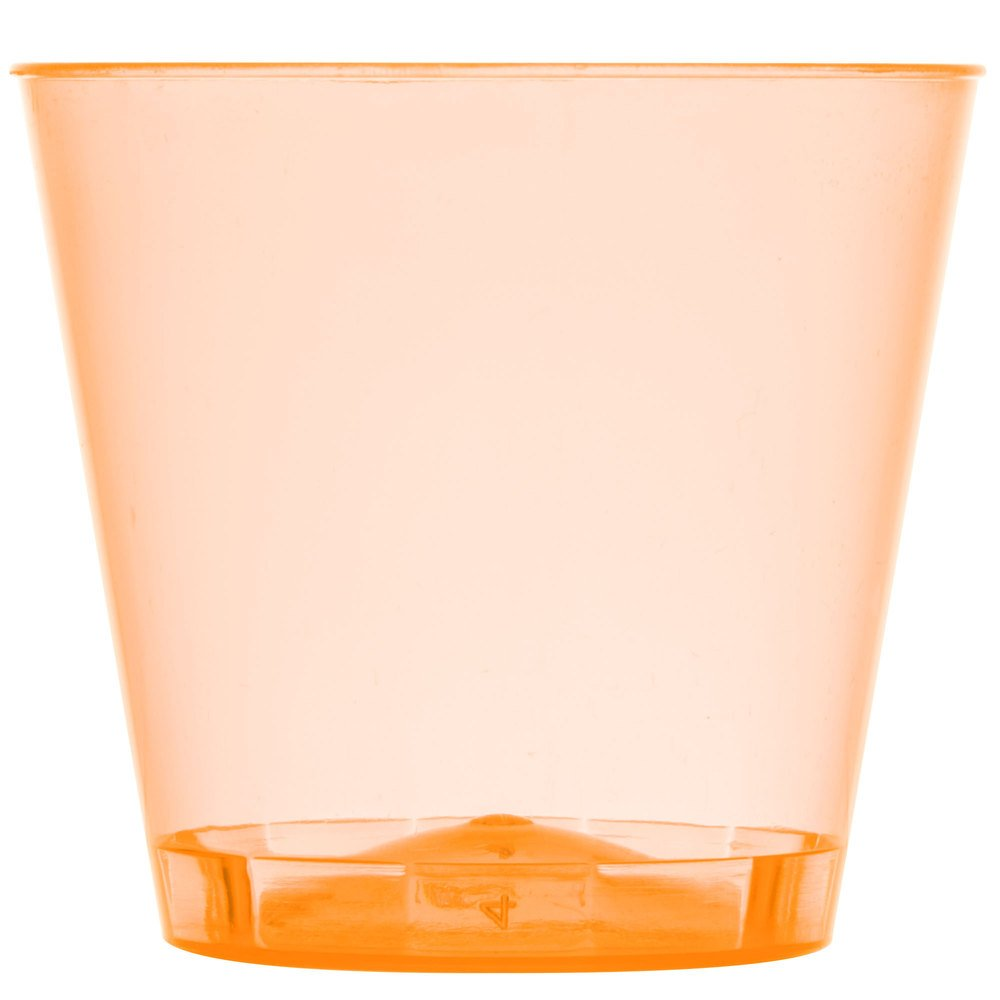 Fineline Quenchers 401-ORG 1 oz. Neon Orange Hard Plastic Shot Cup - 2500/Case by Fine-line
