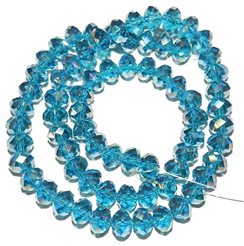 Bead Jewelry Making Dark Teal Blue AB 8mm Rondelle Faceted Cut Crystal Glass Beads 16""