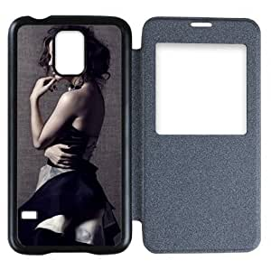 Galaxy S5 Case,Popular Convenient Answer Incoming Calls View Time Table Talk Caller Id Window Eliza Dushku Pattern Flip Case Cover