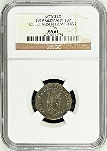 1919 DE 1919 Germany Weimar Notgeld Coin 10 Pfennig Oberh 10 Pfennig MS 61 NGC