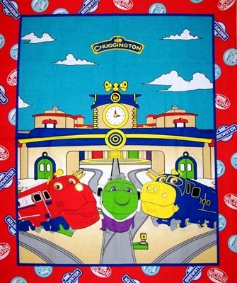 Chuggington Station Train 100% Cotton Fabric Panel - Officially Licensed (Great for Quilting, Sewing, Craft Projects, Throw Pillows & More) 35
