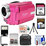 Vivitar DVR-508 HD Digital Video Camera Camcorder (Pink) with 32GB Card + Case + LED Video Light + Tripod + Kit