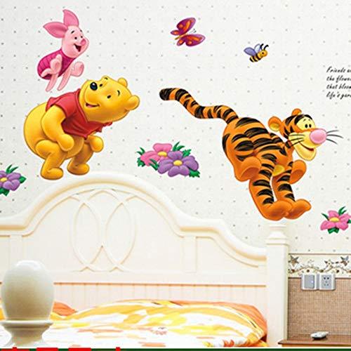 SeedWorld Wall Stickers - Winnie The Pooh Bear Tiger Wall Stickers for Kids Rooms adesivo de Parede Cartoon Kindergarten Wall Decal Nursery Room Decor 1 ()