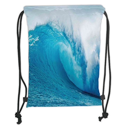 Custom Printed Drawstring Sack Backpacks Bags,Ocean Decor,Wavy Ocean Adventurous Surfing Extreme Water Sports Summer Holiday Destination Picture,Aqua White Soft Satin,5 Liter Capacity,Adjustable Strin by iPrint