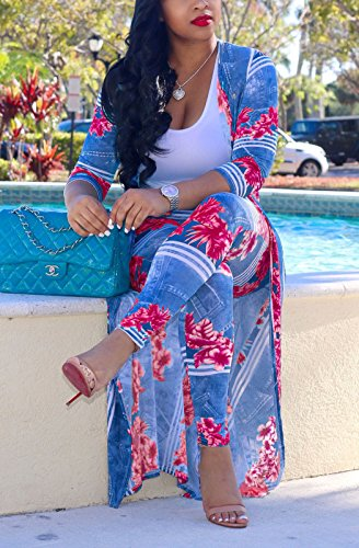 73af0ca9cd MarcoJudy Womens Long Sleeve Stripe and Floral Cardigan Cover up Long Pants  2 Piece Suit Set