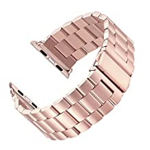 LNKOO Stainless Steel Metal Clasp Watchbands Replacement Wrist Strap Classic Buckle Polishing Watch Bands for Apple Watch iWatch 38/42mm-Rose Gold/38mm