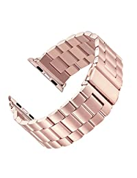 LNKOO Stainless Steel Metal Clasp Watchbands Replacement Wrist Strap Classic Buckle Polishing Watch Bands for Apple Watch iWatch (38mm, Rose Gold)