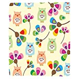 VROSELV Custom Blanket Cartoon Cute Design Owls with Flowers Leaves Branches Design for Kid Nursery Room Landscape Soft Fleece Throw Blanket Multicolor