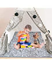 Teepee Play Tent Mat, Square Padded Mat, Anti Slip Baby Activity Mat, 43''x 43'' Play Mat Quilted Mat for Playtent, Teepee Play Mat for Toddlers and Kids Playtime