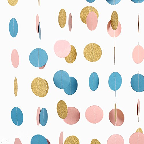 ZOOYOO-Paper-Circle-Garland-Dots-Hanging-DecZOOYOO-Glitter-Paper-garland-Circle-ornaments-For-a-variety-of-activities-and-party-supplies10ft-2pcs-Gold-Pink-Sky-blue