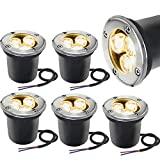 LED Landscape Lighting Sunriver 6 Pack Pathway Low Voltage Landscape Lights 3W In Ground Well Lights 12V-24V IP67 Waterproof Outdoor Lights for Driveway